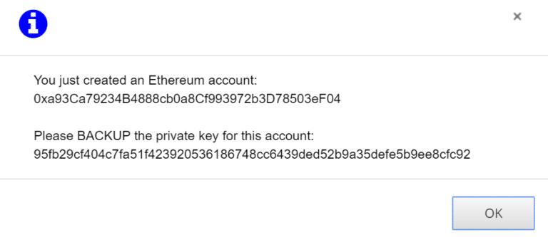 message création d'un compte Ether Delta