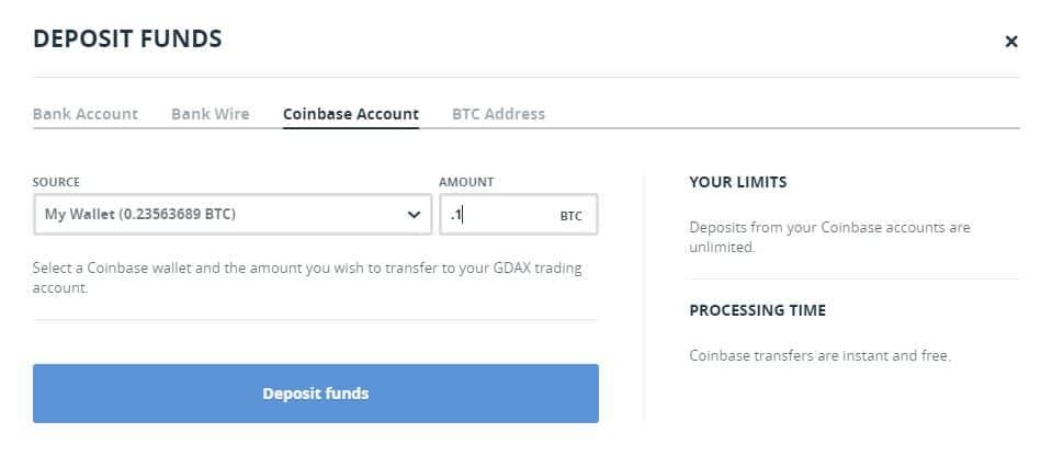 GDAX- dépôt de fonds