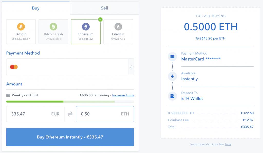 acheter ETH coinbase