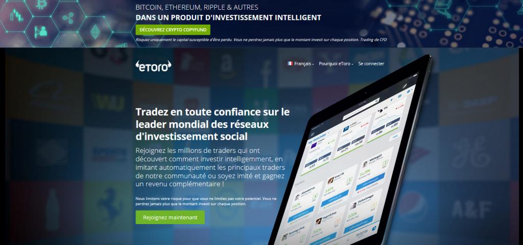 Plateforme de trading Bitcoin d'eToro